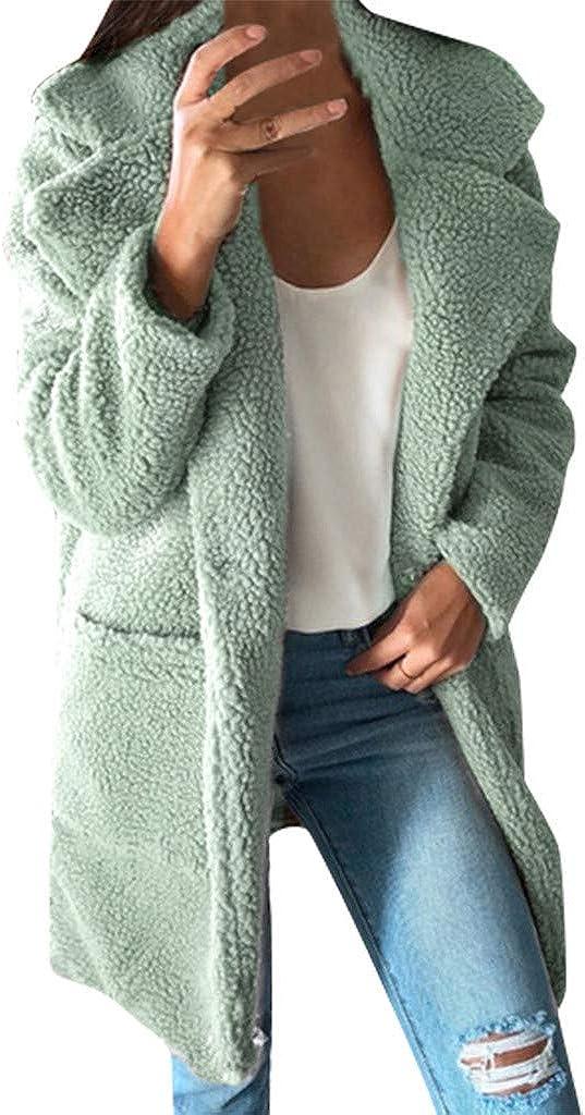 Women's Fuzzy Fleece Lapel...