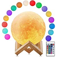 Moon Lamp, 16 Colors LED 3D Print Moon Light with Stand & Remote&Touch Control and USB Rechargeable, Moon Light Lamps…
