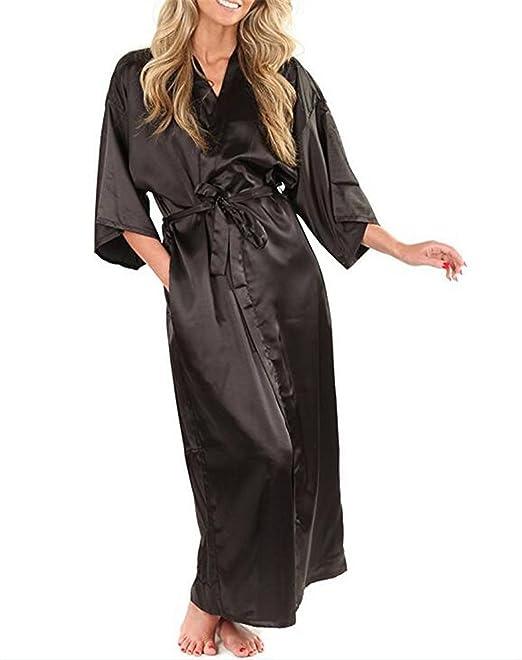 c1a65be9c3 Habitaen Women Silk Satin Long Robe Kimono Robe Bath Large Size Sexy  Bathrobe  Amazon.ca  Clothing   Accessories