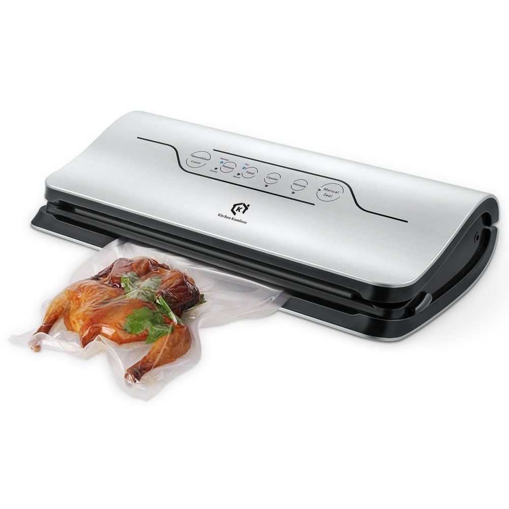 Kitchen Komforts Automatic Vacuum Sealer Sealing System for Wet and Dry Food Preservation, Multipurpose Household Bags and Containers, 150W