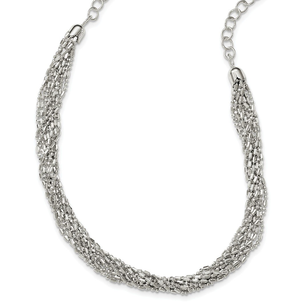 ICE CARATS 925 Sterling Silver Twisted Multi Strand Chain Necklace Pendant Charm Multi-str Fine Jewelry Ideal Gifts For Women Gift Set From Heart