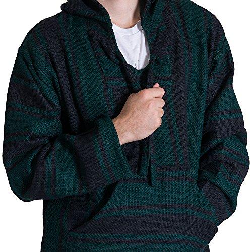 (Orizaba Original Baja Hoodie Drug Rug - Dark Green Black Classic - Punta Mita XL)