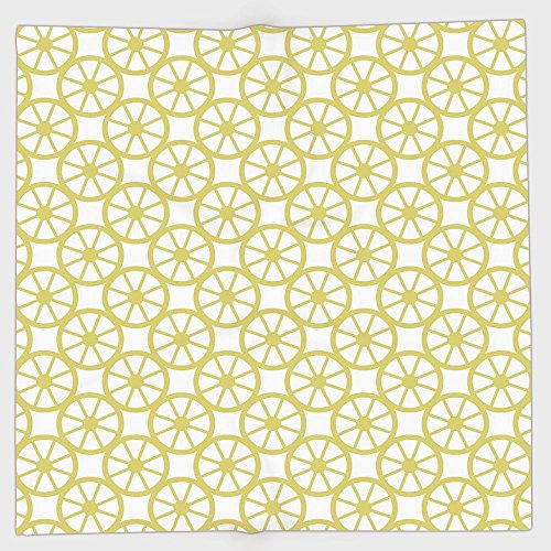 Lemon Peel Baseball (Polyester Bandana Headband Scarves Headwrap,Circle Decor,Bicycle Bike Wheel Orange Lemon Peel Like Circles Modern Image Art Print Decorative,Golden and White,for Women Men)