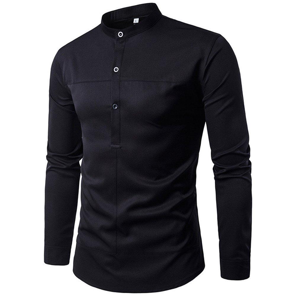 Oberhemden, einfache halb einreihig Feste körper lässig Hemd Kragen,schwarz,l