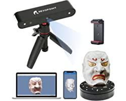 Revopoint POP 3D Scanner with Turntable 0.3mm Accuracy 8 Fps Scan Speed Desktop and Handheld Fixed/Auto Scan Mode for Face an