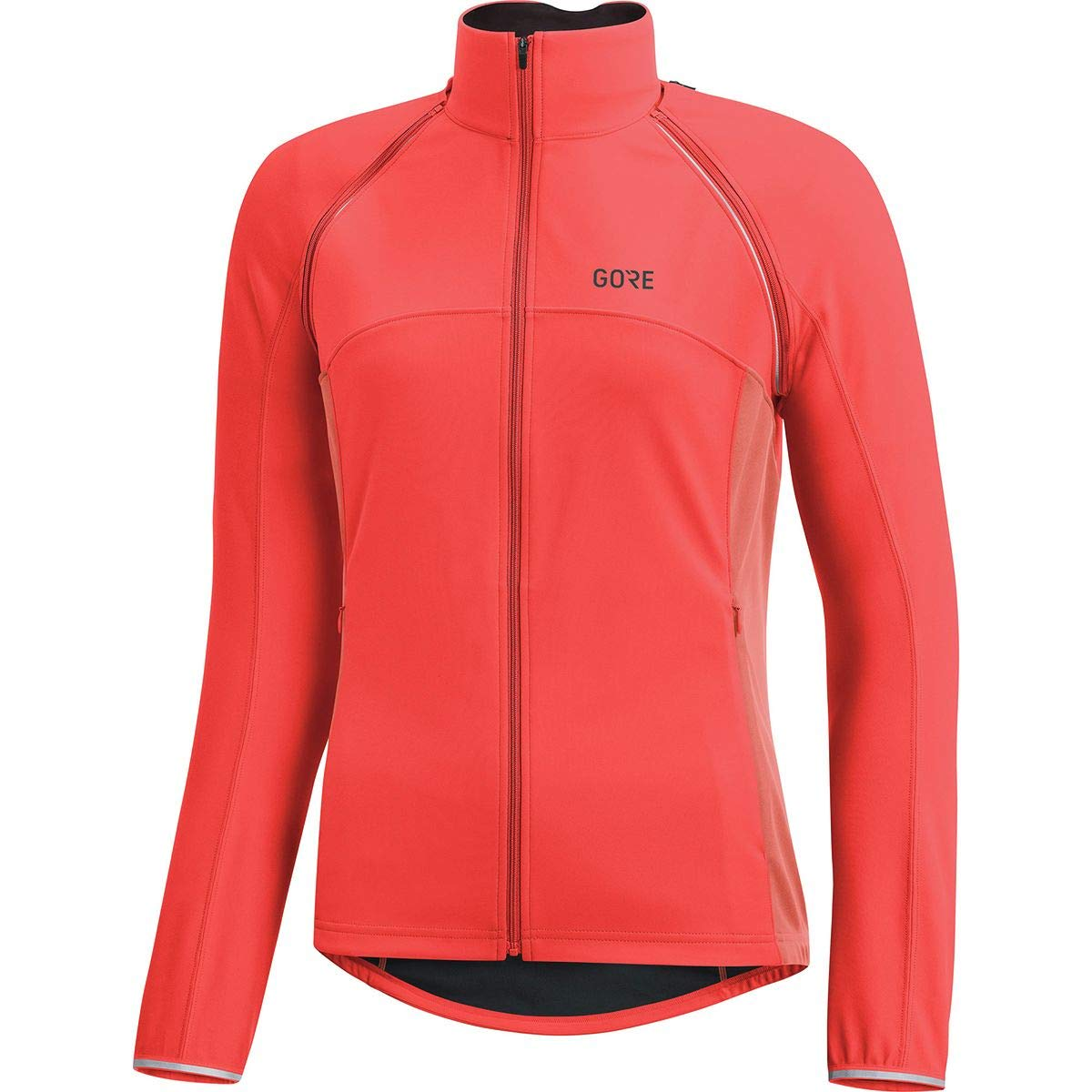 GORE Wear Women's Windproof Cycling Jacket, Removable Sleeves, GORE Wear C3 Women's GORE Wear WINDSTOPPER Phantom Zip-Off Jacket, Size: XL, Color: Lumi Orange/Coral Glow, 100191