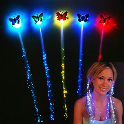 Cheap Sale Novelty Led Glowing Light Wigs Butterfly Hair Ornament Flashing Hair Braid Clip Hairpin Children Girls Toys Christmas Party Girl's Accessories Girl's Hair Accessories