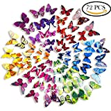 AMEIJING 72 X PCS 3D Colorful Decor magnets for toddlers Butterfly Wall Decal Sticker Wall Sticker for Nursery Room with Magnets and Glue Baby Room Decal Kids Room Decor