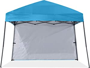 ABCCNAOPY Outdoor Pop Up Canopy 10x10 Beach Camping Canopy with 1 Sun Wall, Bonus Backpack Bag, Stakes and Ropes, Sky Blue