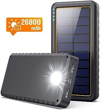 Yacikos Batería Externa 26800mAh Cargador Solar Carga Rápida Power Bank con 2 Entrada Puerto [Tipo C