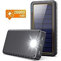 Yacikos Batería Externa 26800mAh Cargador Solar Carga Rápida Power Bank con 2 Entrada Puerto [Tipo C & Micro USB] + 2…