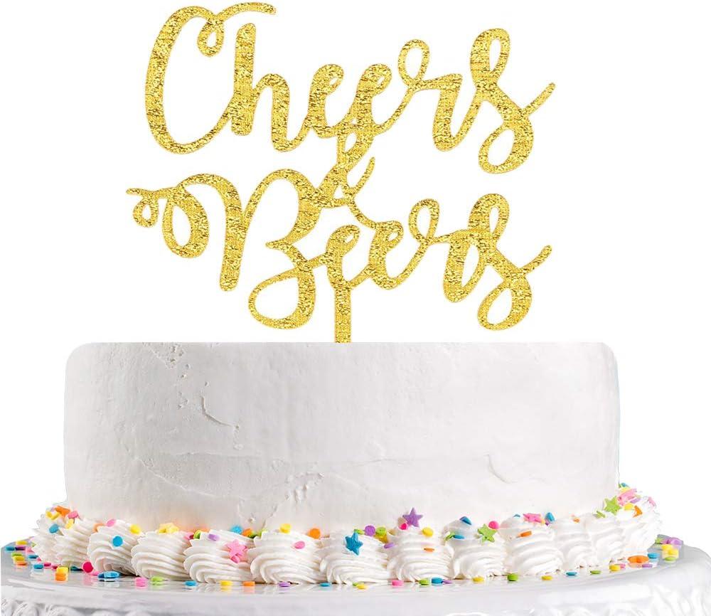 Miraculous Amazon Com Cheers Beers Cake Topper Happy Birthday Cake Topper Funny Birthday Cards Online Overcheapnameinfo
