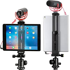 Tablet Tripod Mount Adapter Adjustable Stand Holder Aluminum with Cold Shoe Quick Release Plate Lracket for Video Recording Vlogging Universal for iPad Mini/iPad 4/iPad Pro/Surface Pro (Aluminum)