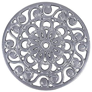 Trademark Innovations Decorative Cast Iron Metal Trivet, Silver