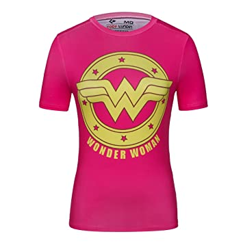 Cody lundin® Mujer Manga Corta Camisa Running Yoga Compresión Camiseta de fitness Super Held Wonder