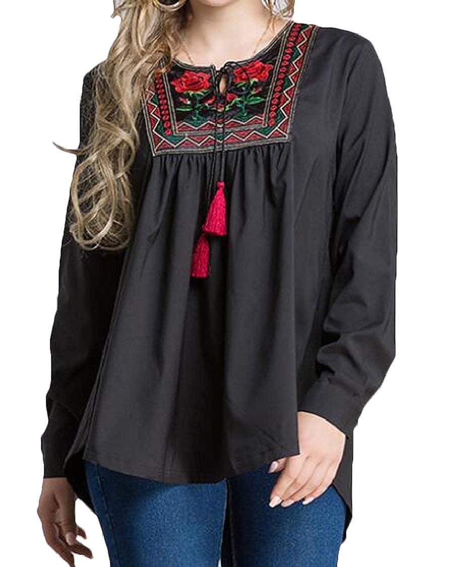 pipigo Women Loose with Tassles Embroideried Malaysia Plus Size T-Shirt Tee