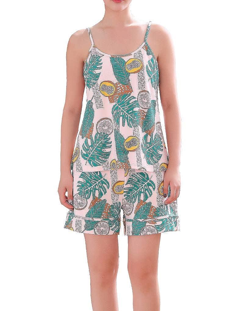 Vopmocld Big Girls Summer Sling Pajamas Top Tropical Fruit Plants Patterns Sleepwear 2PCS Age 7-16 Years
