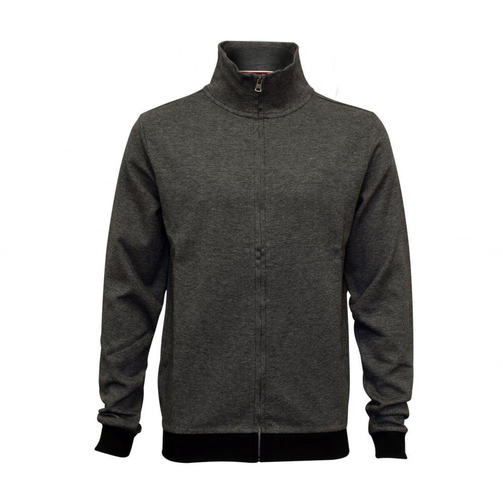 Tommy Hilfiger Men's Fine Stripe Pique Cotton Jacket, Charcoal Grey Large Charcoal Grey