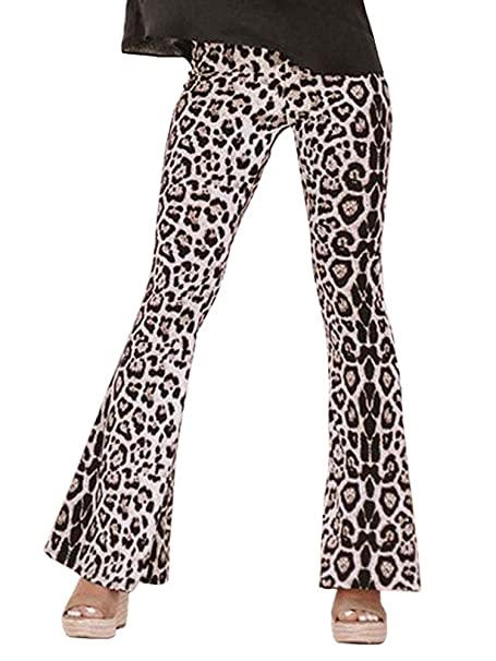 Womens Ladies Printed High Waisted Palazzo Wide Leg Flared Trouser Pants Legging