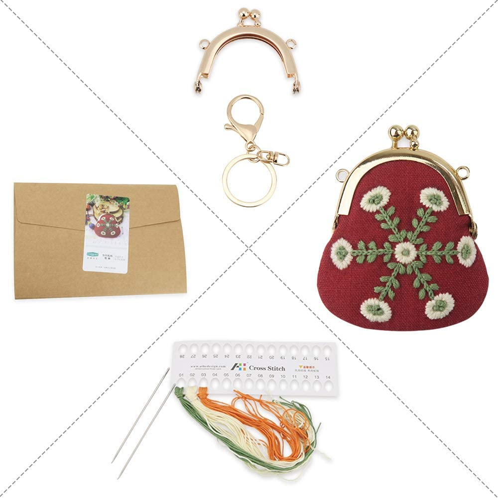 Quarantine Killing Time Embroidery Kits Projects Ideal Gifts on Christmas for Families and Friends Watermelon DIY Handmade Embroidery Coin Purse Kits for Adults Kids Beginners