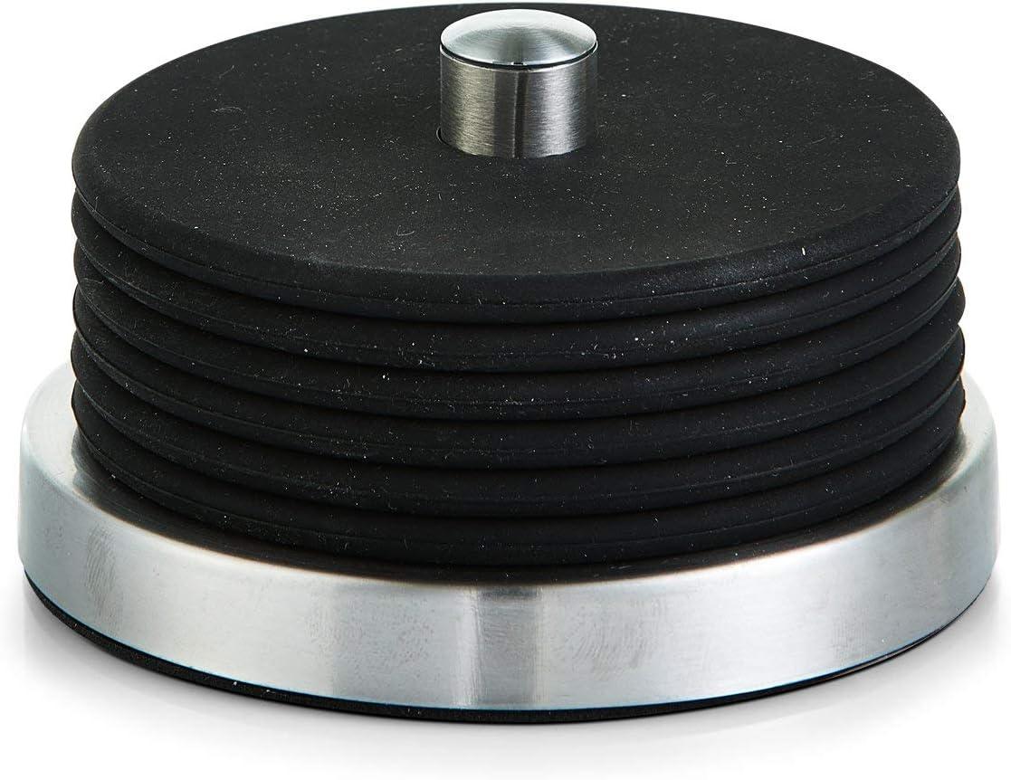 Zeller 27224 Set de Posa Vasos, Acero Inoxidable, Negro, 10x10x6 cm, 7 Unidades