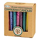 Rite-Lite Judaica Festive Hand Rolled Honeycomb Beeswax Chanukah Candles, Box of 45
