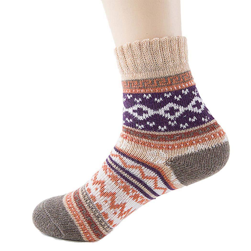 amiubo Chaussettes épaisses douces et chaudes pour femmes d'hiver Chaussettes en tricot de style national Chaussettes Classiques