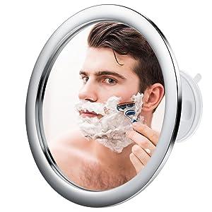 Jerrybox Espejo de Baño Antivaho SIN Aumento con Ventosa | Espejo de Baño Plegable para Afeitar y Maquillar, Ajustable, Rotación 360 Grados, Plateado, Perfecto para Regalo
