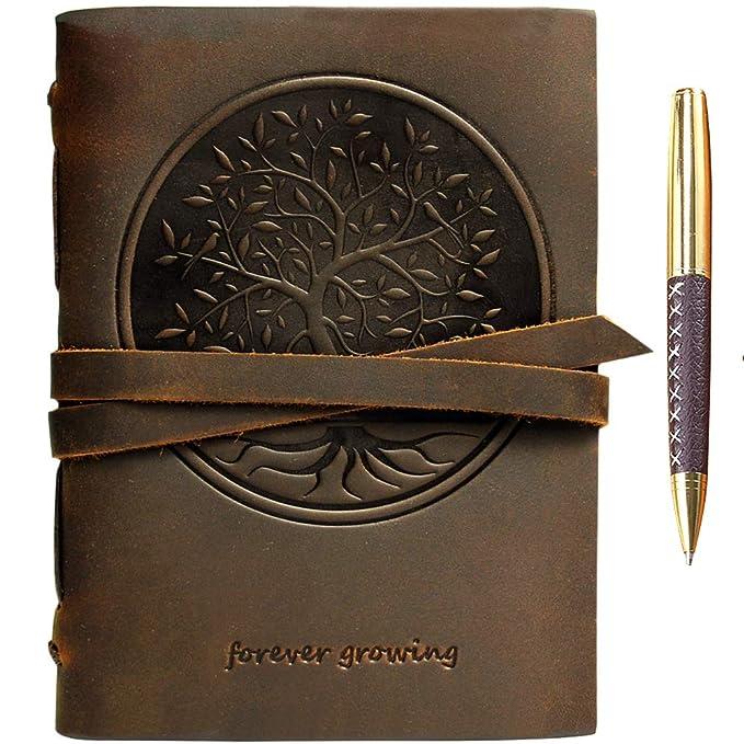 Baum des Lebens Leder Journal Geprägt A5 Handgefertigte Reisetagebuch, Vintage Notebook für Männer Frauen Antiken Rustikalen