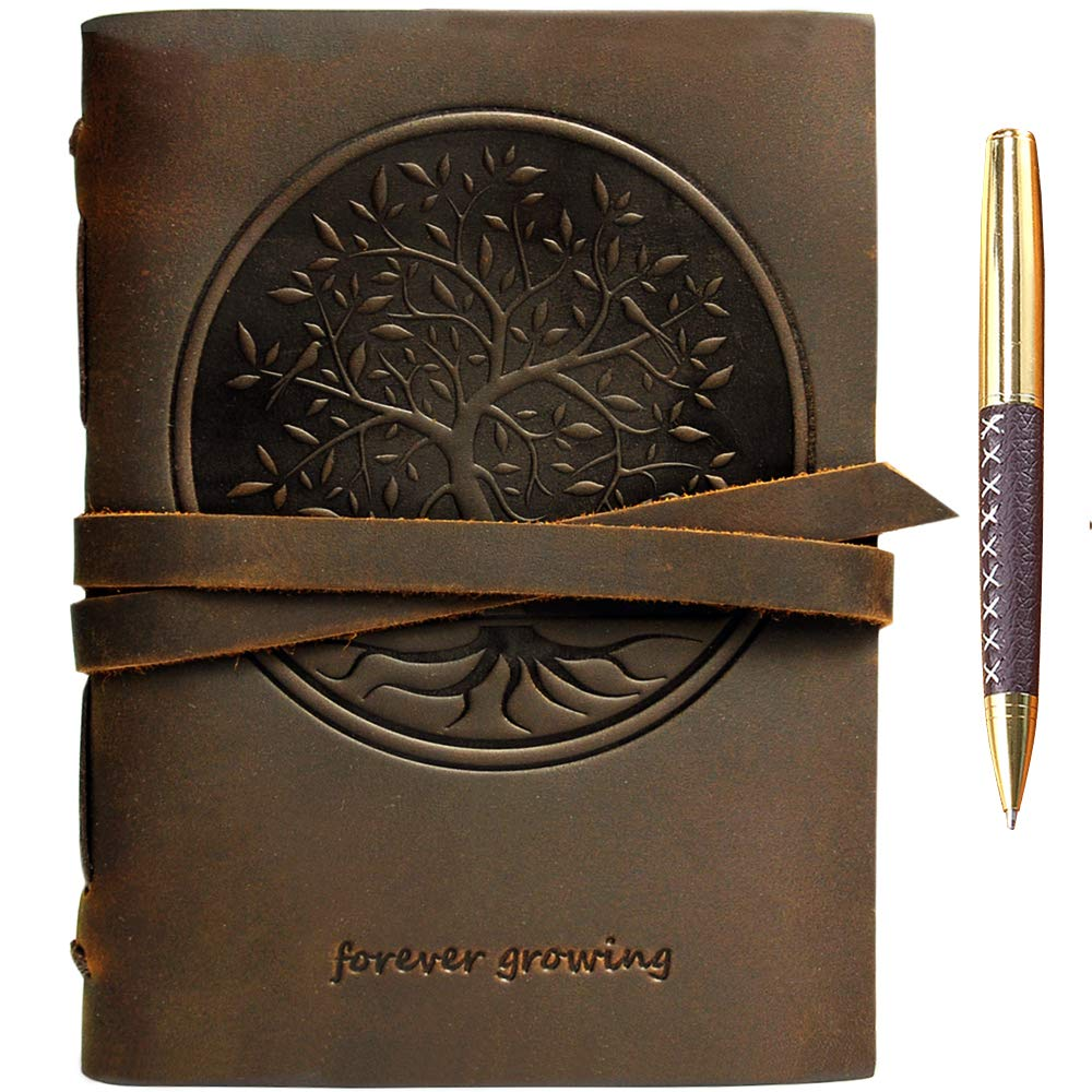 Leather Journal Tree of Life Notebook Embossed Handmade Travel Diary, A5 Vintage Writing Bound for Men For Women Genuine Antique Rustic Leather 6''x8'' Engraved Paper Perfect for Notes Sketchbook + Pen