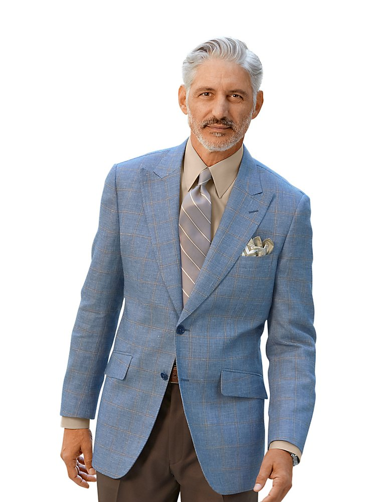 Paul Fredrick Men's Wool  Linen Windowpane Sport Coat Blue/Tan 52 Regular