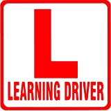 Onlinemart (Pack of 2) Red L Board Learning Driver car decal sticker(19.5Cm X 19.5 Cm)