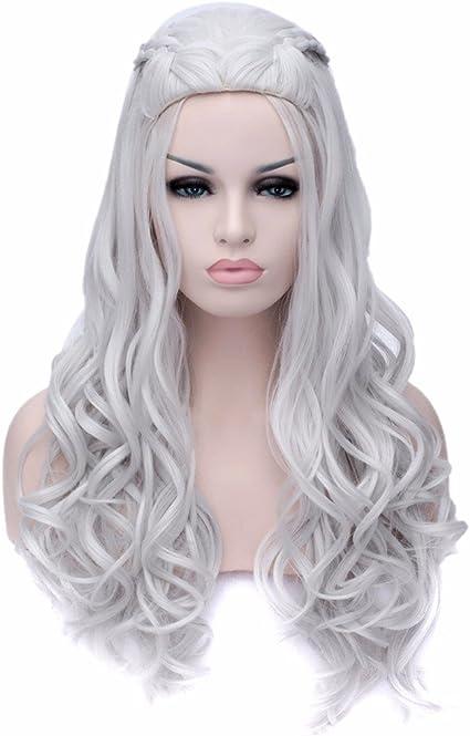 Peluca de Daenerys Targaryen para disfraz, color blanco plateado ...