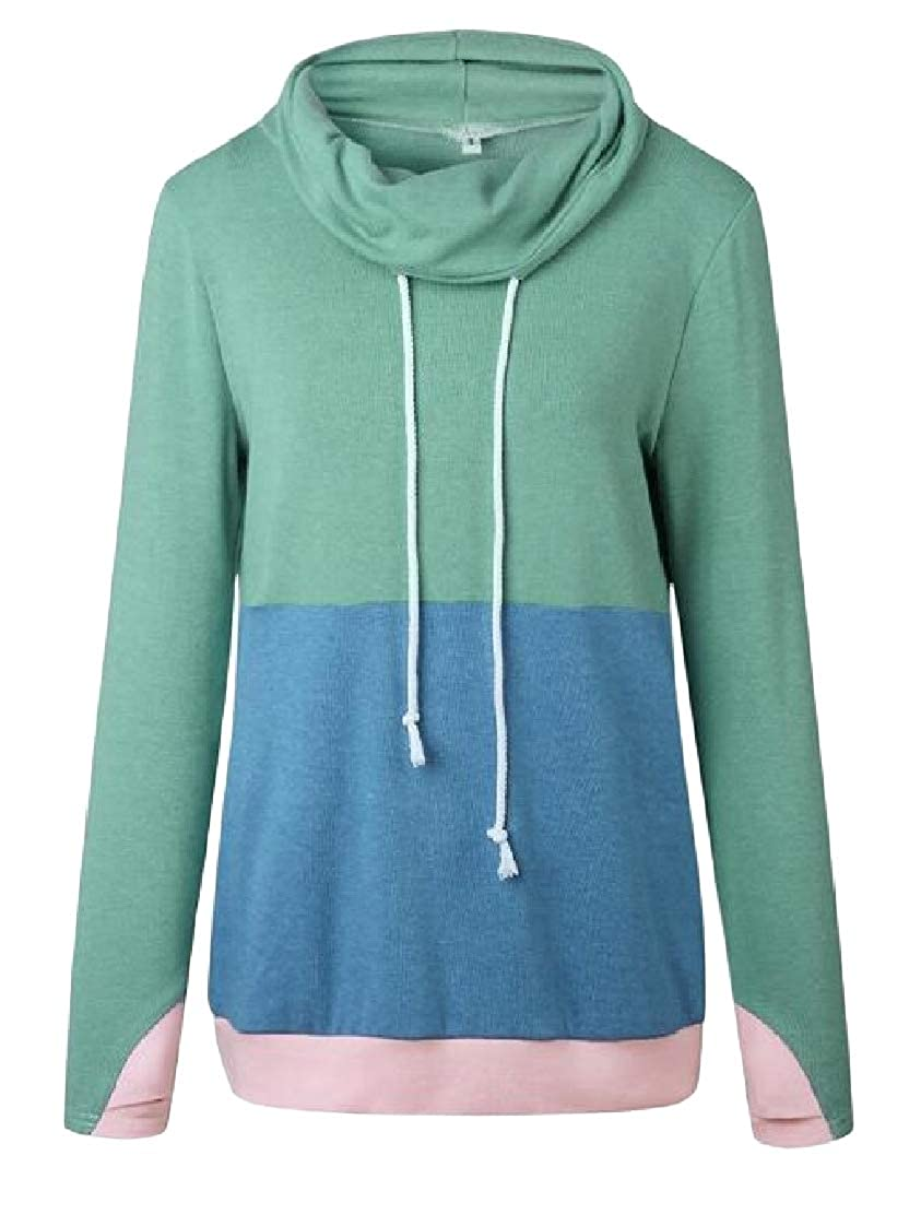 Lutratocro Womens Pullover Drawstring Spell Color Casual Sweatshirts Hoodies