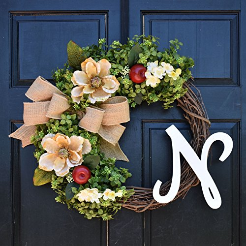 Personalized Boxwood, Apple & Magnolia Wreath with Monogram Initial and Burlap Bow for Summer Fall Front Door Decor - Apple Magnolia Wreath