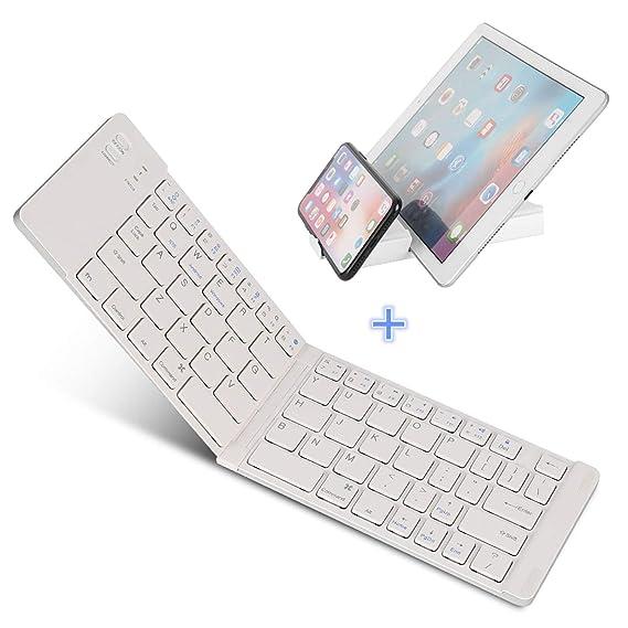 IKOS Teclado Bluetooth Plegable, Ultra Slim Mini Teclado Plegable BT para iPhone X 8 7 6S 6 Plus, iPad Mini/Pro/Air, Smartphones/Tabletas Android de Samsung ...