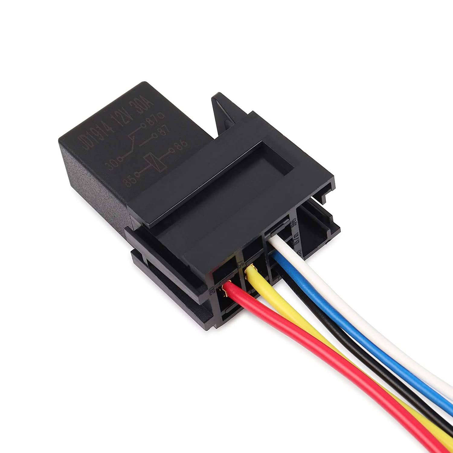 Ehdis 5 Pin Wires Cable Relay Socket Harness Connector 12VDC 30A SPDT Multi-Purpose Heavy Duty Standard Relay Kits for Car Automotive Pack of 2