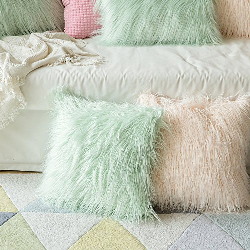 MIULEE Decorative New Luxury Series Style Green Faux Fur Throw Pillow Case Cushion Cover for Sofa Bedroom Car 18 x 18 Inch 45 x 45 Cm by MIULEE (Image #4)