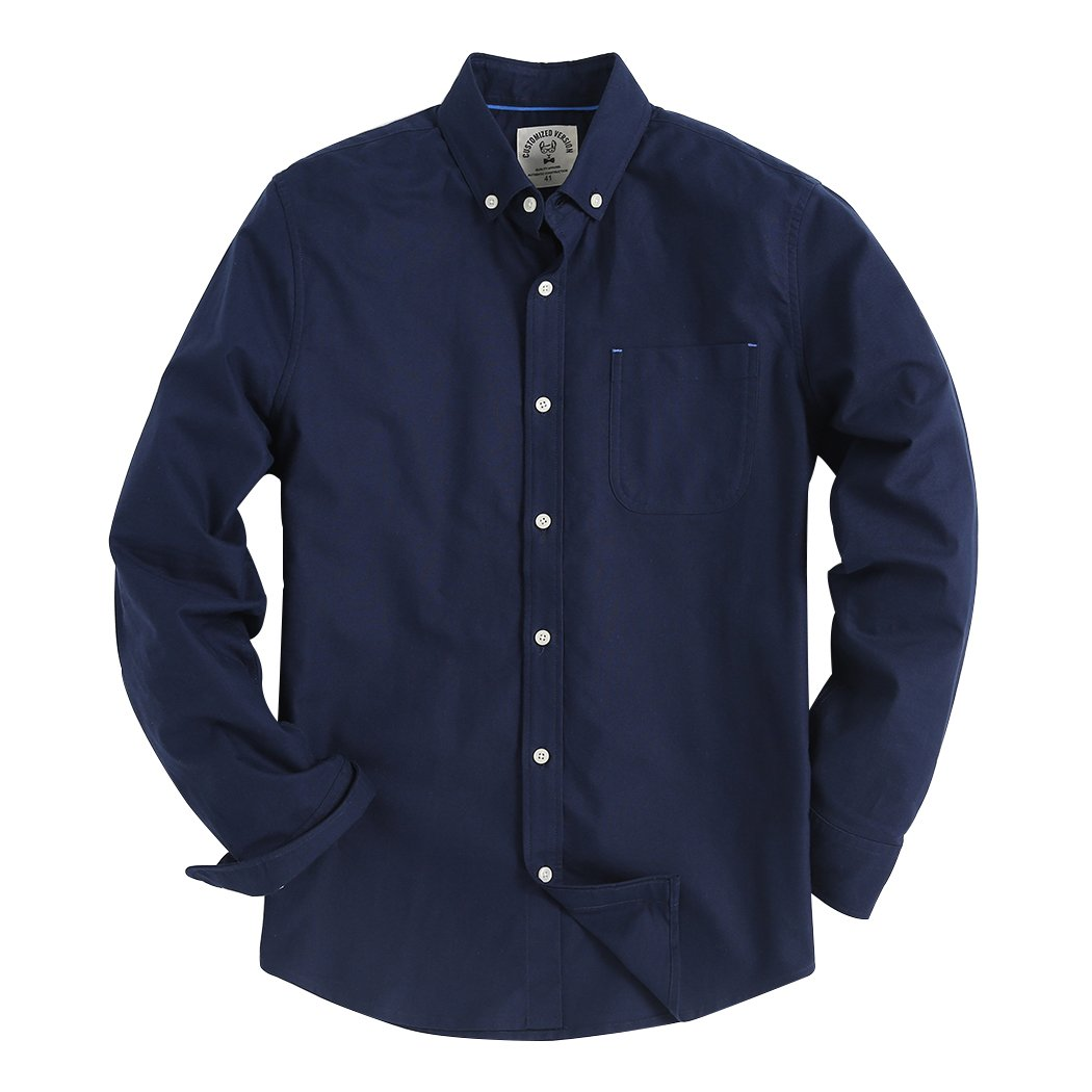 Men's Long Sleeve Shirt Regular Fit Solid Color Oxford Casual Button Down Dress Shirt Navy Large