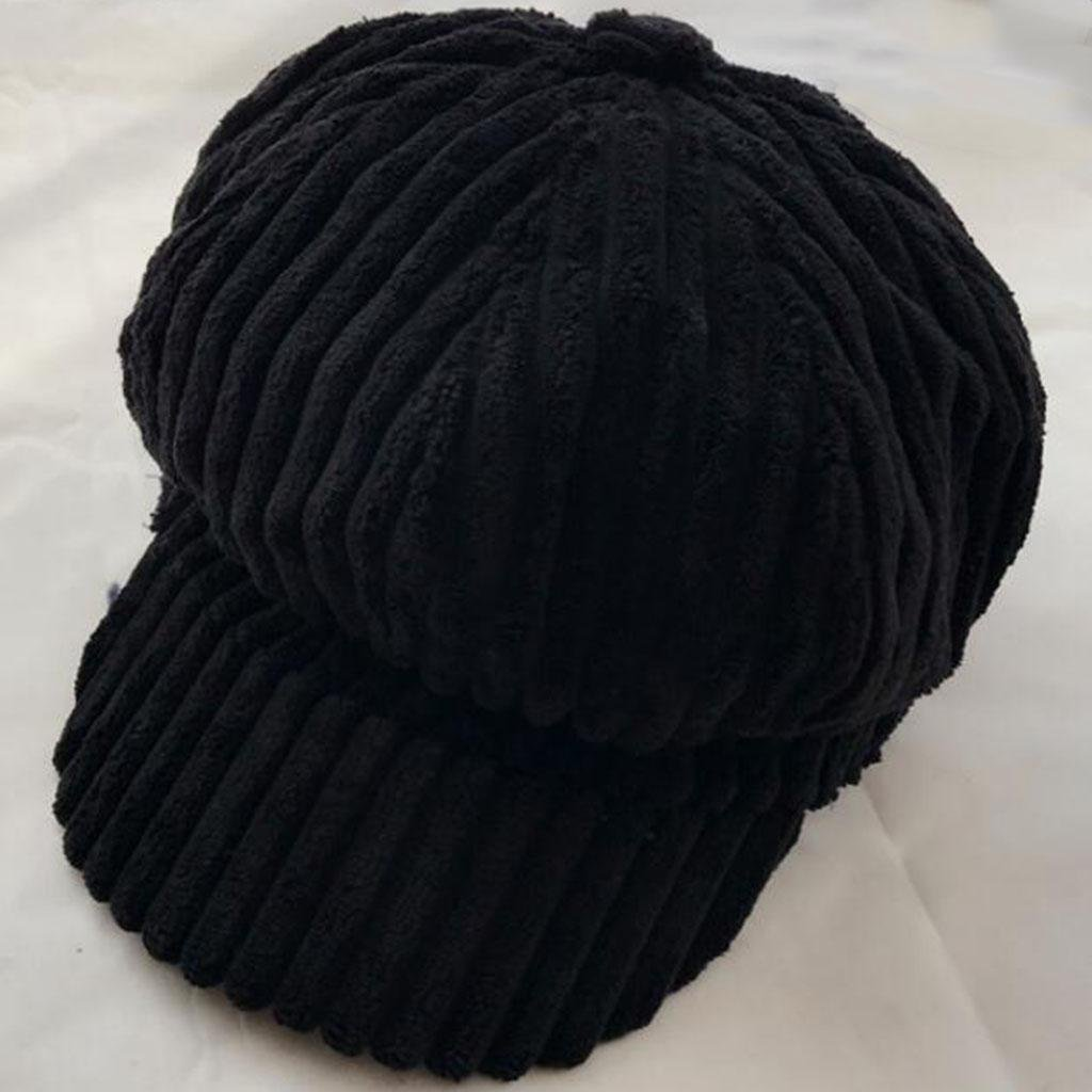 Retro Sombrero octogonal Pana Gorro de calabaza Elástico Mantener caliente Frío Sombrero de fieltro , black