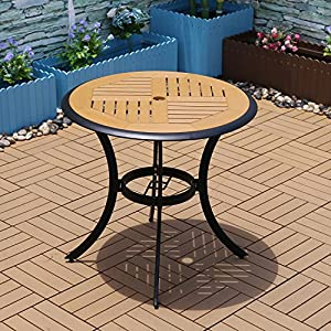 Yongcun Patio Outdoor Garden Lawn Furniture Set 4 wood chairs and circular wooden table