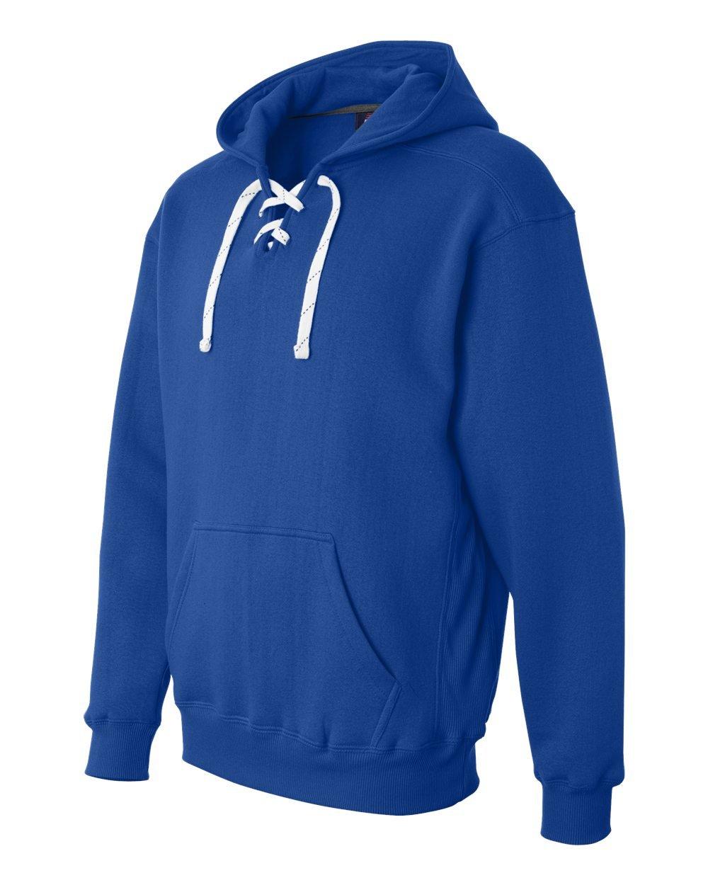 Blue Hockey Hood Sweatshirt: 80% Ringspun Cotton, 20% Polyester Fleece Fabric.,Royal Blue,X-Large