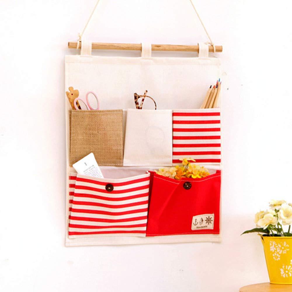DANOPLUS Red Linen Cotton Fabric Wall Door Hanging Storage Bag Storage Case Home Organizer