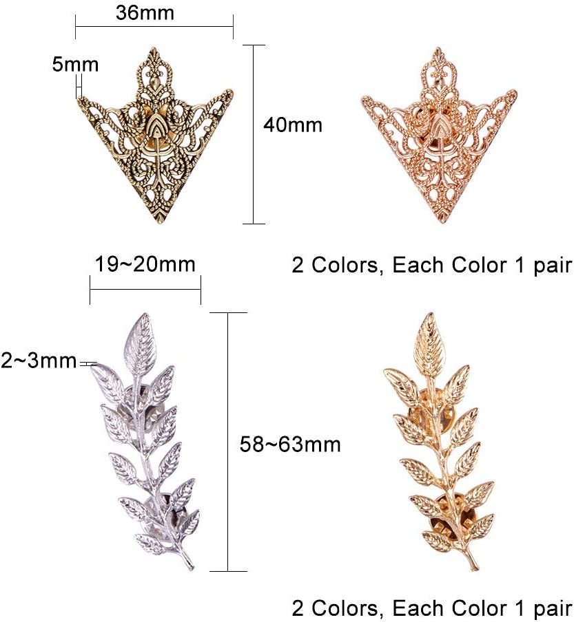 4 Sets Broche en Alliage Epingle Delicat Forme Fleur et Feuille pour Decoration des Vetements Chemisier PandaHall Elite