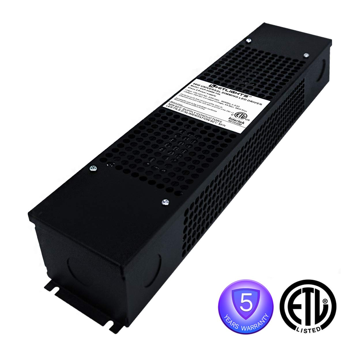 HitLights 96W(4A) LED Dimmable Driver, 100-130VAC to Constant 24V DC Lighting Transformer Compatible with Forward Phase,Magnetic Low Voltage,Triac Dimmer (with Junction Box & Knockouts)