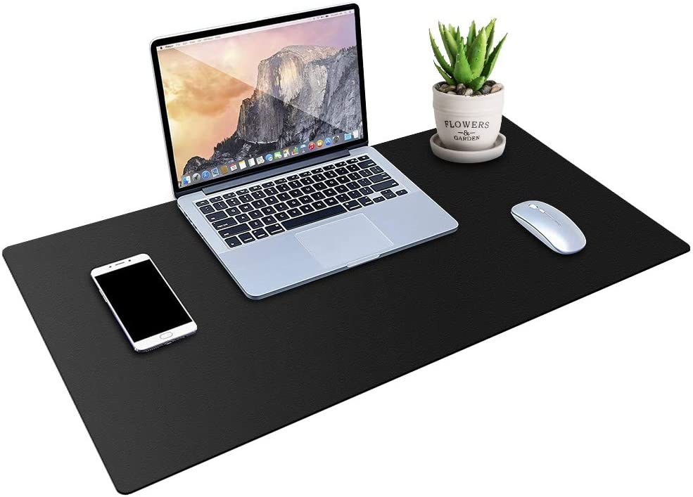 "MONYES Thick Desk Pad Protector, PU Leather Desk Mat Blotters, Black Laptop Mat for Office/Home (36"" x 20"")"