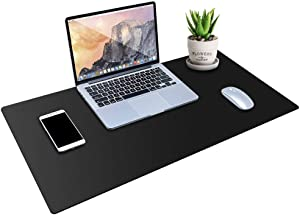 """MONYES Desk Pad Protector, PU Leather Desk Mat Blotters, Black Laptop Mat for Office/Home (34"""" x 17"""")"""