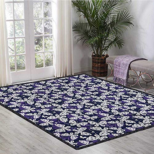 - Butterfly, Kids Carpet Playmat Rug, Butterflies with Flower Patterned Wings Abstract Animal Ornate Insect, Door Mats for Inside Non Slip Backing 6x9 Ft Dark Blue Purple White