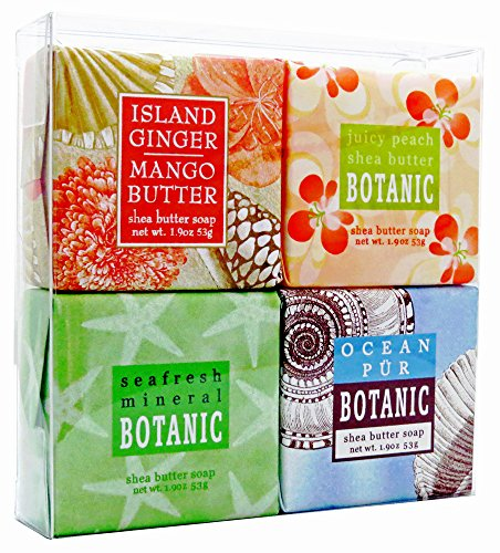 Tropical Breeze Soap Sampler - Boxed Set of 4 Assorted Scents - Natural Scent Soap Set
