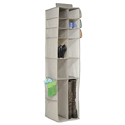 MDesign Chevron Fabric Hanging Closet Storage Organizer, For Shoes, Boots,  Handbags, Clutches